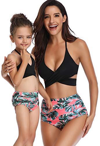 (Girls Swimsuit Matching Family Two Pieces Bikini Set Women High Waisted Swimwear Bathing Suits Size 5-6 Years)