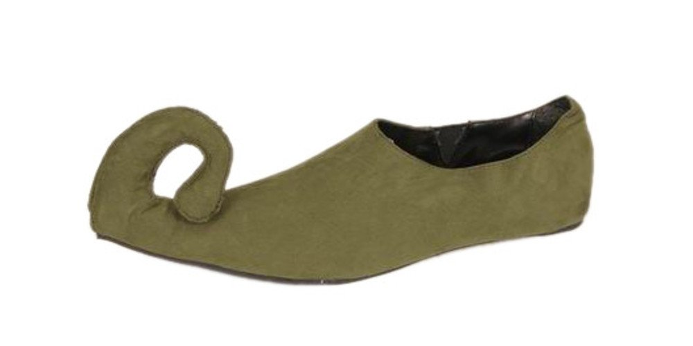 Adult Women's Green Suede Renaissance Costume Shoes (Shoe Size 9-10)