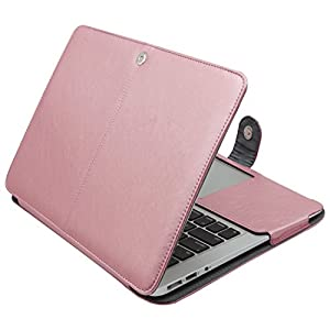 MOSISO PU Leather Case Only Compatible MacBook Air 13 Inch A1466/A1369 (Older Version Release 2010-2017), Premium Quality Book Folio Protective Stand Cover Sleeve, Rose Gold
