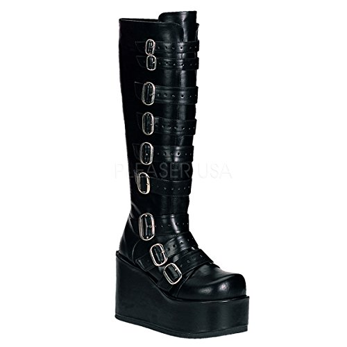 Demonia PLEASER CONCORD-10841/4fangbanger Punk Lolita GOGO hebilla P/F sintética Blk rodilleras BT 41/4 P/F