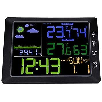 Uzinb Modo estación meteorológica inalámbrica de Control de Sonido de Alta definición de Pantalla Humedad Temperatura Interior del Tiempo al Aire Libre ...