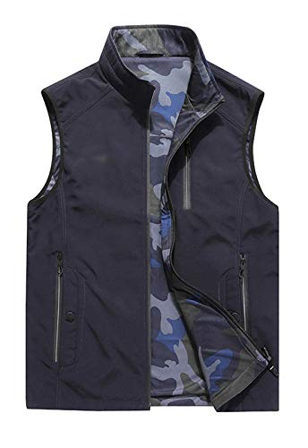 (Flygo Mens Quick Dry Multi-Pockets Fishing Travel Reversible Vest Outerwear (Large, Navy))