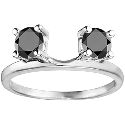 Black Diamonds Ring Wrap Enhancer in Sterling Silver(0.1Ct)Size 3 To 15 in 1/4 Size Interval (Diamond Ct 0.1 Princess)