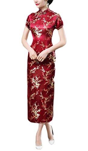 Smeiling Women's Sexy Short Sleeve Print Long Chinese Prom Dress Cheongsam 11 M