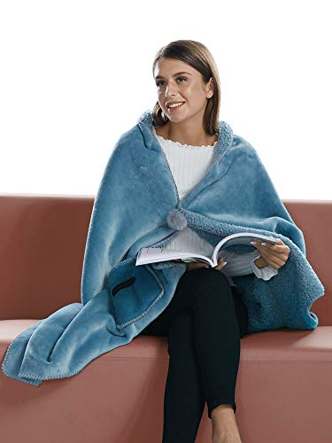 (BARGOOS Thick Wearable Blanket Warm Throw Wrap Shawls with Pockets Fleece Flannel Sherpa Plush for Women and Men Light Blue Medium 67