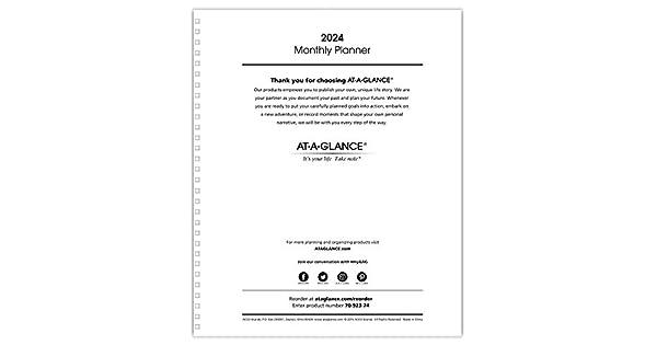 Amazon.com: AT-A-GLANCE 2024 Recambio de planificador ...