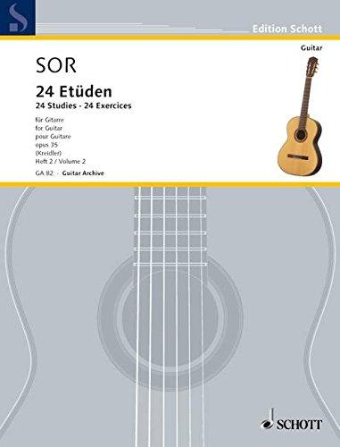 24 Etüden: 12 Übungen (mittelschwer). Band 2. op. 35/2. Gitarre. (Edition Schott)