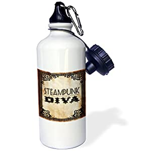 3dRose Steampunk Diva-Sports Water Bottle, 21oz (wb_181838_1), Multicolored