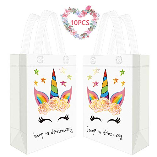 Seakcoik 10 Pieces Unicorn Fabric Birthday Party Favor Gift Bags Environmentally Friendly Reusable Gift Tote Bags Goodie Bags Canvas Bags Treat Bags for Unicorn Themed Birthday Party