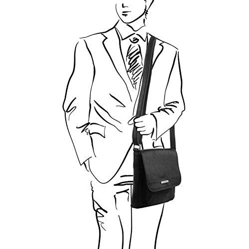 Tuscany Leather - Jimmy - Sac pour homme en cuir avec poche frontale - Marron foncé