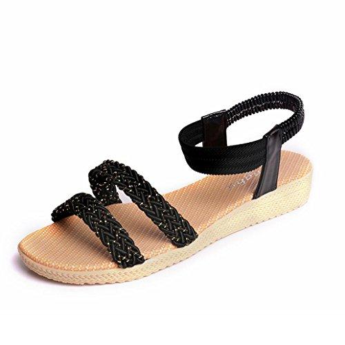 Winwintom Mujeres plana de Zapatos peep toe sandalias de señora soild Bohemia ocio zapatos al aire libre Negro