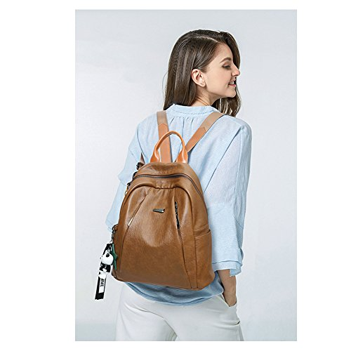 Backpack Purse for Women PU Leather Large Waterproof Travel Bag Fashion Ladies School Shoulder Bag brown by Cluci (Image #1)