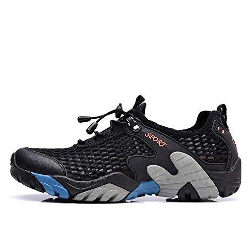 Onfly Bomba Malla Hilado de red Zapatos deportivos Zapatos casuales Hombres Respirable Color puro Punta redonda Halar Cordon de zapato Antideslizante Snekers Al aire libre Zapatos de escalada Zapatos  Black