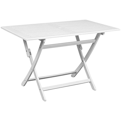 Festnight Folding Dining Table with Umbrella Hole Outdoor Camping Table All Weather Acacia Wood Picnic Table Garden Patio Backyard Furniture White 47 x 28 x 30 Inches (L x W x H)