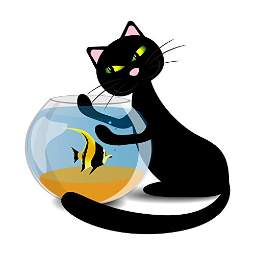 Black Cat Wants to Catch the Fish in the Aquarium Wall Decal Sticker - 18 Inches H x 18 Inches W - Peel and Stick Removable Graphic