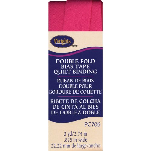 Wrights 117-706-1232 Double Fold Quilt Binding, 7/8 by 3-Yard, Berry Sorbet