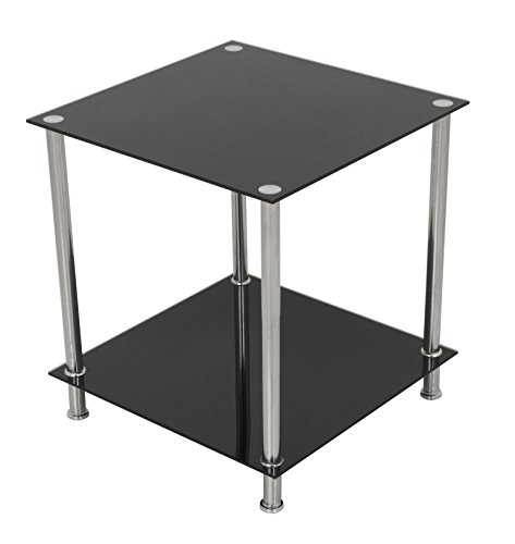 AVF T52-A Black Glass & Chrome Two Tier Square Side Table/Lamp Table/End Table