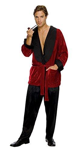 UHC Men's Hugh Hefner Smoking Jacket Adult Fancy Dress Playboy Costume, XL (Mens Playboy Costumes)