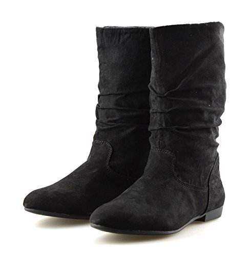 Mid Black Calf Ladies Slouch Womens Flat Suede Faux Shoes Boots Low Heel Riding qAAtI7