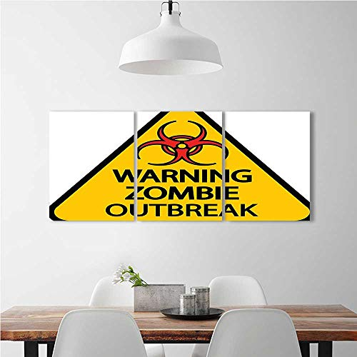 aolankaili Wall Art for Living Room Decor 3 Piece Set Frameless Zombie Warning Zombie Outbreak Sign Cemetery Infection Halloween Graphic Earth for Home Modern Decoration Print Decor W16 x H24 x 3pcs -