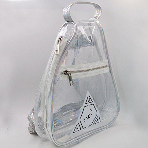 AiSi Damen Mädchen dreieckig transparent mini Rucksack Daypacks Wanderrucksack Schoolbag Schultasche mit modernem Design, durchsichtig 23cm x 9cm x 30cm, Silber 002 Silber transparent