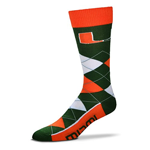 For Bare Feet NCAA Argyle Lineup Unisex Crew Dress Socks-One Size Fits Most-Miami Hurricanes