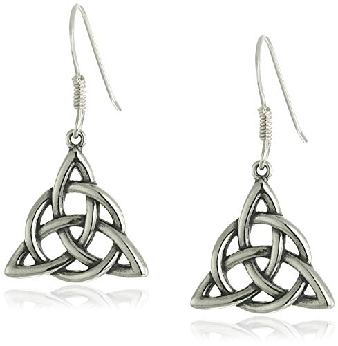 (Sterling Silver Oxidized Celtic Triquetra Trinity Knot Dangle)