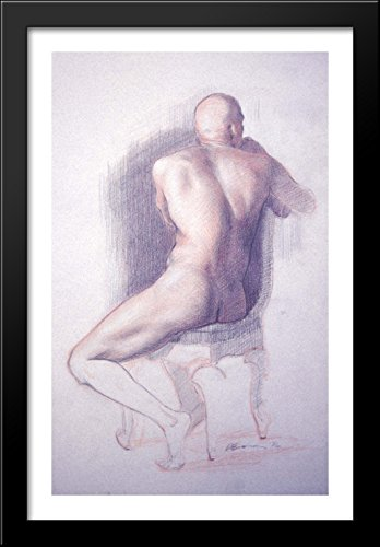 Conté drawing (male nude seen from behind) 26x40 Large Black Wood Framed Print Art by Patrick Devonas