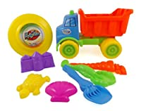 Beach Dump Truck with Frisbee - 8pc Sand Toys Set for Kids from Liberty Imports