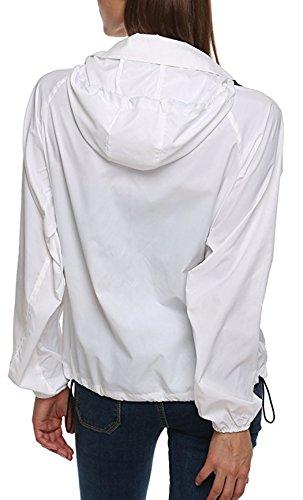 Aire Súper Blanco Piel Chubasquero Escudo Chaqueta con Aire UV al de Capucha Seco Salamaya de Ligera Libre Chaqueta la Rápido al Senderismo Proteger el Chaqueta Mujer Cortavientos Impermeable Libre 5wq0nf