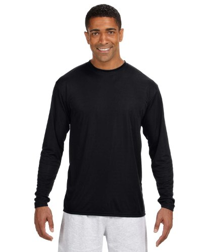 A4 Adult Cooling Performance Long-Sleeve T-Shirt, Blk, X-Large ()