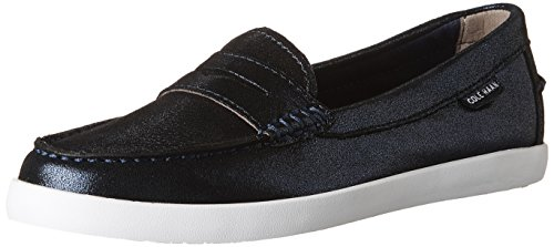 Cole Haan Womens Nantucket Loafer II Midnight Blue Shimmer Metallic Leather/Optic White