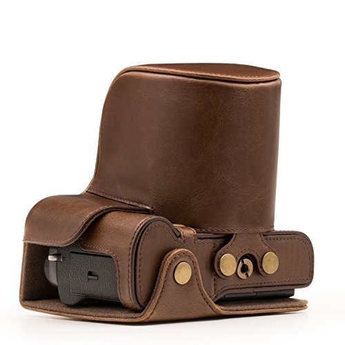 MegaGear 'Ever Ready' Leather Camera Case - Easy to Install, Tripod and Peripheral Friendly Accessory - Compatible with Fujifilm X-T2 with 18-55MM Lens (Dark Brown)