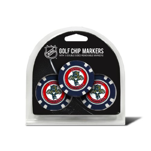 Team Golf NHL Florida Panthers Golf Chip Ball Markers (3 Count), Poker Chip Size with Pop Out Smaller Double-Sided Enamel Markers