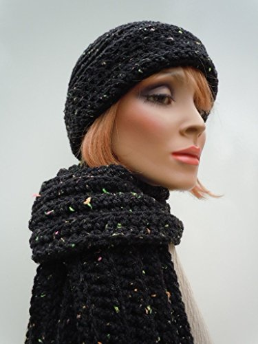 Hat and scarf set, black hat scarf, womens hat scarf, cold weather set, neon colors, warm hat and scarf, crochet hat scarf ()