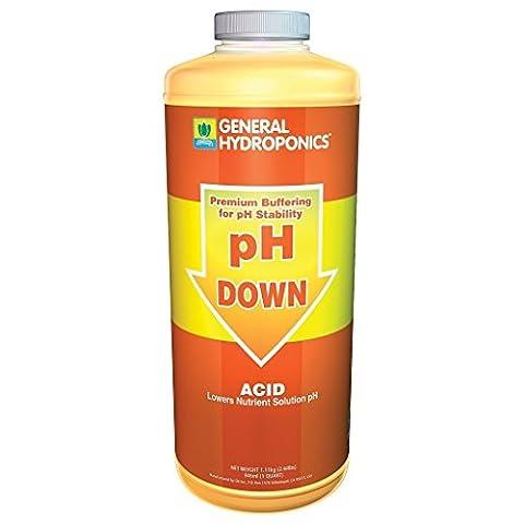General Hydroponics pH Down Liquid Fertilizer, 1-Quart - Liquid Plant Food