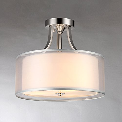 Brushed Nickel 2 Drum Shades Crystal Semi Flush Mount Chandelier (Drum Shade Crystal)