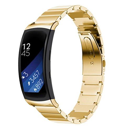 For Samsung Gear Fit 2 Bands , HP95(TM) Replacement Band Genuine Stainless Steel Bracelet Smart Watch Band Strap For Samsung Gear Fit2 SM-R360 (Gold)