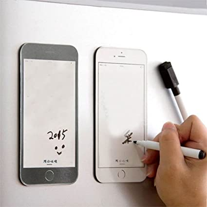 ShopAIS iPhone Shape Fridge Magnetic Memo Pad (White Board Pen Includes)