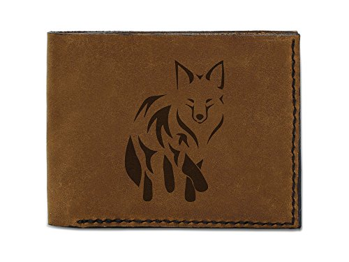 Men's Fox Abstract -2 Handmade Natural Genuine Leather Trifold Wallet MHLT_05 (Fox Natural)