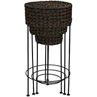 Household Essentials Indoor Outdoor Resin Wicker Round Accent Table 3Piece Set, Dark Brown