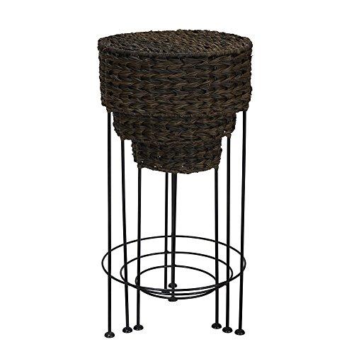 Household Essentials Indoor Outdoor Resin Wicker Round Accent Table 3Piece Set, Dark Brown