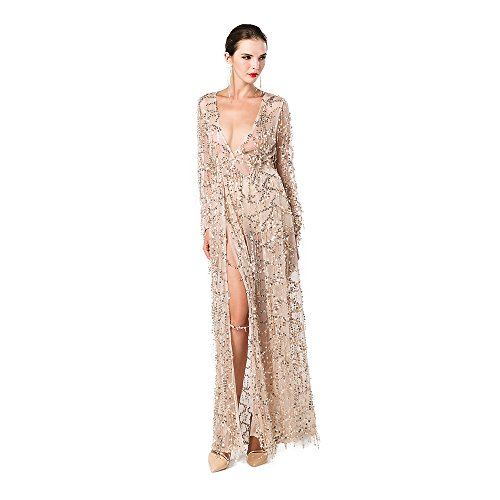 Miss ord Women Deep V Neck Long Sleeve Split Sequined Maxi Party Cocktail Dress Gold X-Small Anniversary Womens Long Sleeve
