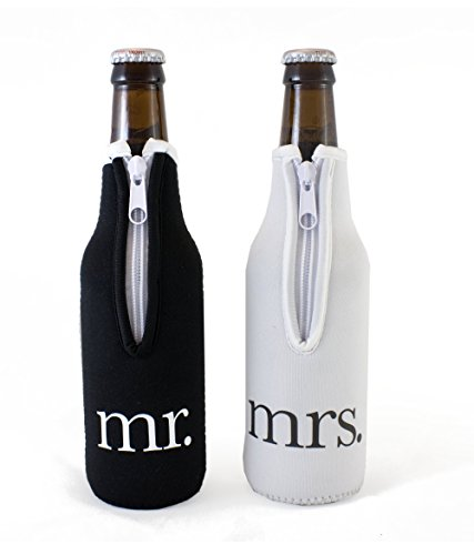 Bride Gift Basket (Bridal Shower Gift Mr and Mrs Wedding Beer Bottle Coolies - (Black and White) Set of 2)