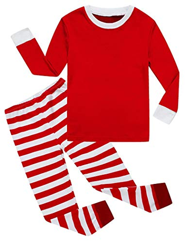 KikizYe Little Girls Boys Matching Christmas Pajamas Sets 100% Cotton Sleepwears Toddler Kids Pjs Size 18-24 Months Striped]()