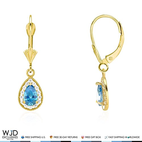 Topaz Pink Garnet & Earrings (14K Yellow Gold Simulated Birthstone Milgrain Halo Teardrop Dangle Leverback Earrings, Blue Topaz)