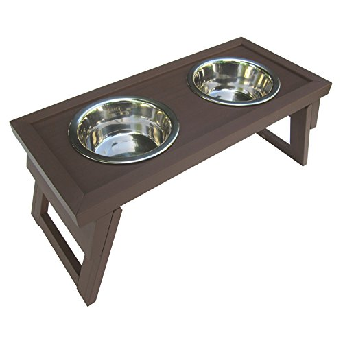 ecoFLEX Adjustable Height Double Dog Bowl by New Age Pet-Large-Russet