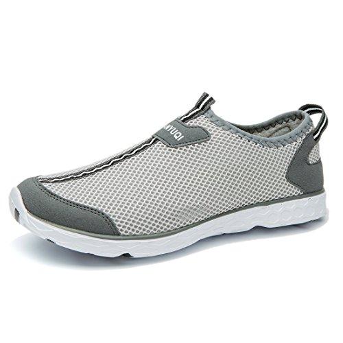 TIANYUQI Frauen Mesh Slip On Water Schuhe Grau 046