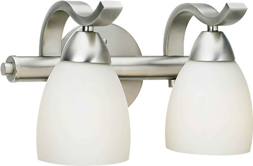 Forte Lighting 5045-02-55 Bath Vanity with Satin Opal Glass Shades, Brushed Nickel