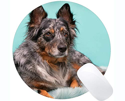 Natural Rubber Gaming Round Mouse Pad Printed with Pet Dog - Stitched Edges